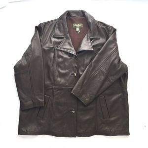 Eddie Bauer brown leather lined coat 3X